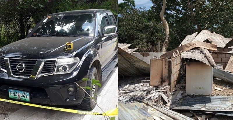 The black car of Cary Llaguno is seen abandoned in Barangay Busay just a few hours after he and his common-law wife, Girlie Loredo, were being chased by armed men from their home in Barangay Babag 1 at 3 a.m. on Wednesday, September 25, 2019. Llaguno, the brother of late drug lord Crisostomo