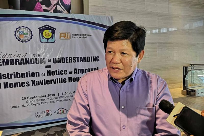 Fermin A. Sta. Teresa, Jr.,Pag-IBIG Fund Senior Vice President for Home Lending Operations told reporters on Thursday, September 26, that Mindanao has already generated P6 billion in housing loan takeout as of September 2019. (Ace Perez)