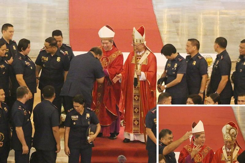 WELCOME, BISHOP BILLONES: Cebu's new auxiliary bishop Midyphil Billones (above, left) is welcomed by Police Regional Office (PRO) 7 Director Debold Sinas (back to the camera) who kisses his ring, as Cebu Archbishop Jose Palma (above, right) and other police officers of Cebu observe. (Inset) Sinas, Billones and Palma share a light moment. (Photos by Alan Tangcawan)