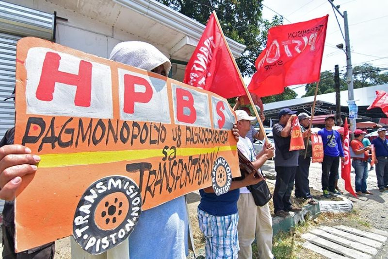DAVAO. Several transport groups stage on September 30, 2019 a protest action near the Land Transportation Franchising and Regulatory Board Davao regional office in Matina, Davao City, calling on the agency to stop the jeepney phaseout. (Photo by Macky Lim)