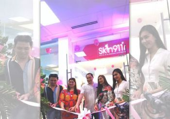 (from left) Mark Anthony Cortez, Skin911 Group's head for brand and advertising;  Eleanor Velasco, Skin911 president and chief executive officer; George Uy and Eline Leonardo-Uy, Skin911 Minglanilla franchisees; and Jesselle Saniel, Miss Talisay 2018