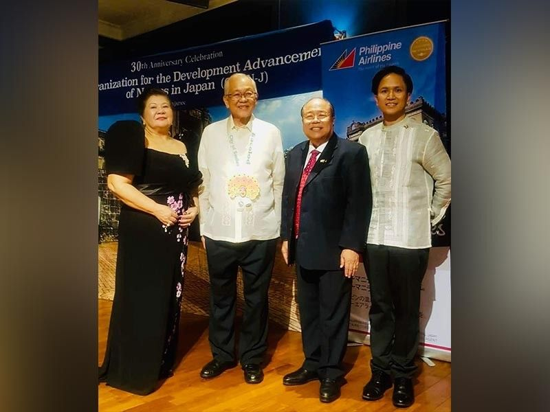 TOKYO. ODAN-J 30th anniversary celebration with His Excellency Jose C. Laurel V, Ambassador Extraordinary And Plenipotentiary  of the Philippines as Chief Guest, (2nd from left), lawyer Juan N. Orola, Jr. Guest of Honor/Founder, (3rd), Eleanor A. Fukuda, Founding President, and Judie A. Alvaran, current ODAN-J Chairman. (Contributed photo)