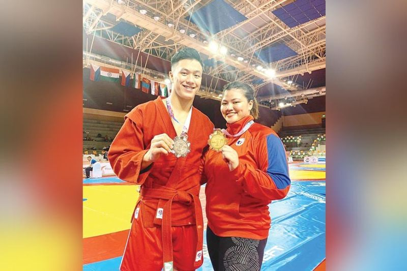 UZBEKISTAN-BOUND. 2019 Asian Sambo Championships bronze medalist Chino and gold winner Sydney Tancontian will next vie for honors in the World Youth and Juniors Sambo Championships on October 9 to 12 in Tashkent, Uzbekistan. (Sydney Tancontian Facebook)