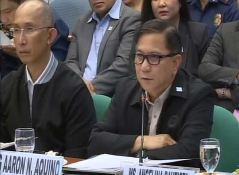 MANILA, Baguio City Mayor Benjamin Magalong and PDEA Director General Aaron Aquino appear before the Senate committee on justice and human rights on October 3, 2019. (Photo grabbed from Senate video)