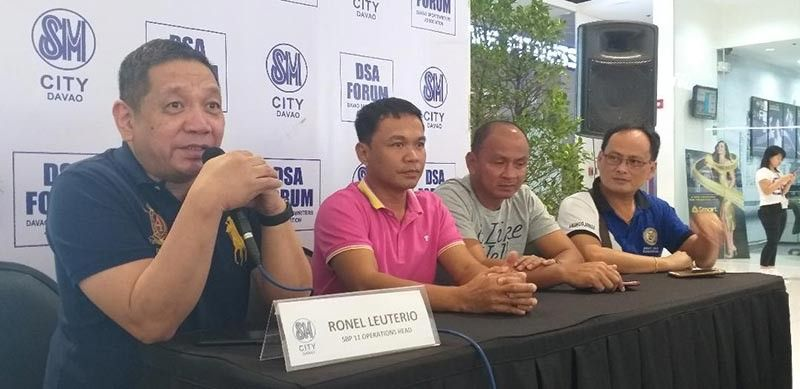 DAVAO. Samahang Basketbol ng Pilipinas (SBP)-Davao operations head Ronel Leuterio (left), who leads the guests during Thursday's Davao Sportswriters Association Forum at The Annex of SM City Davao, bares details about the SBP Collegiate Sponsors League 2019. (Marianne Saberon-Abalayan)
