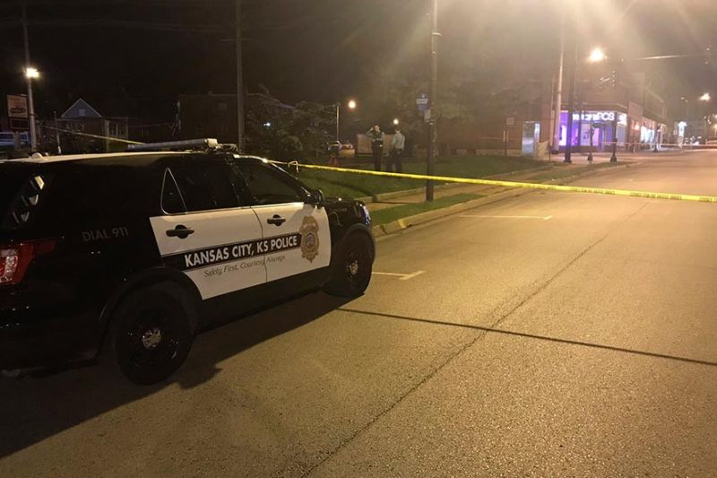 KANSAS. In this image from 41 KSHB Kansas City Action News police work the scene of a shooting outside a Kansas City, Kansas bar Sunday, Oct. 6, 2019. (41 KSHB Kansas City Action News via AP)