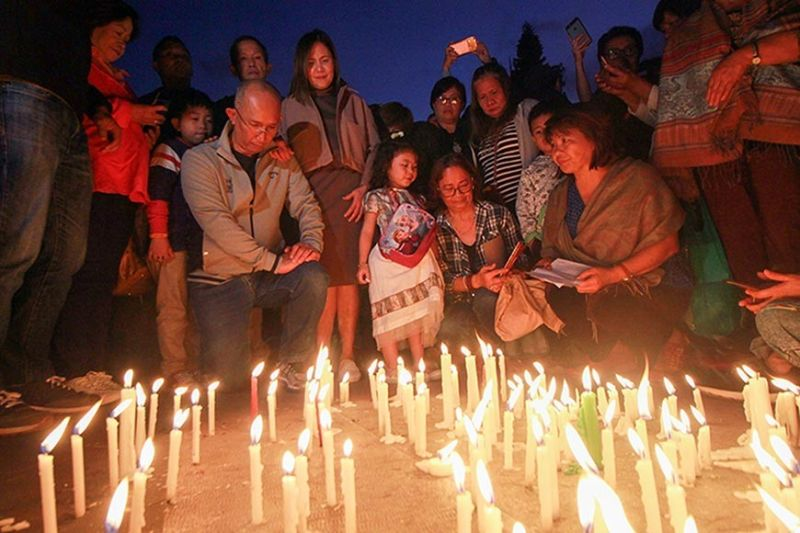 BAGUIO. Interfaith groups converge at the Malcolm Square Sunday night, October 6, 2019, to pray for Baguio City Mayor Benjamin Magalong and his family's safety and security amid the
