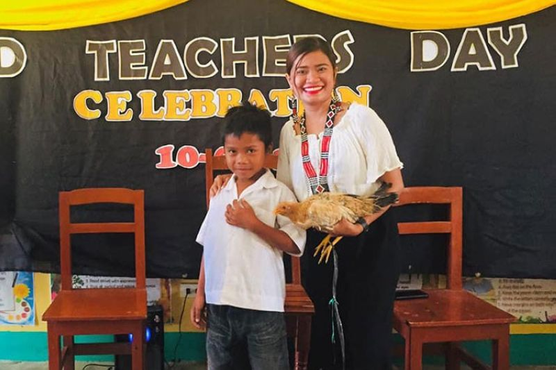 GENERAL SANTOS. Claude Talon, a Department of Education (Deped) teacher in General Santos City, thought a student was joking when he asked her if he could bring a chicken as a present on Teacher's Day. (Photo from Talon Claude Facebook)