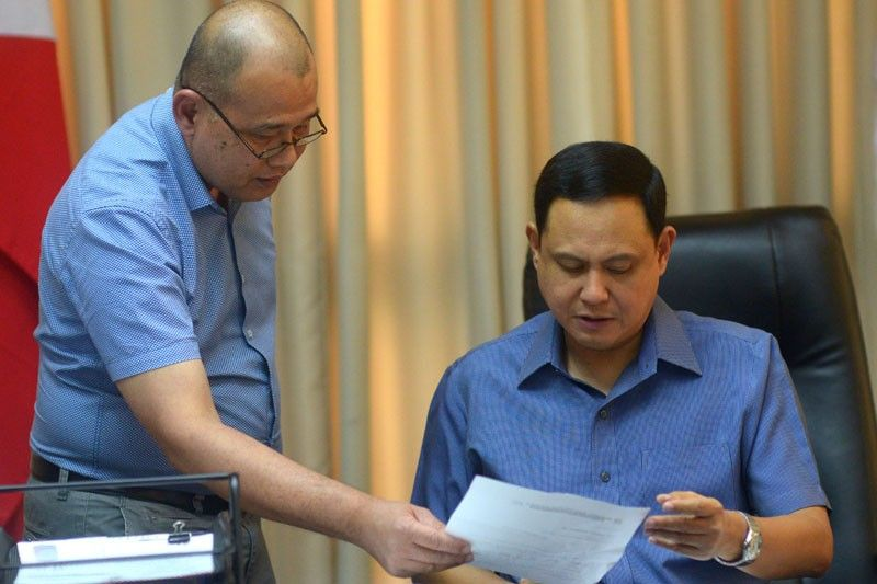 ILOILO. Jose Nereo Lujan (left), chief of Public Information and Community Affairs Office, with Governor Arthur Defensor Jr. (Leo Solinap)