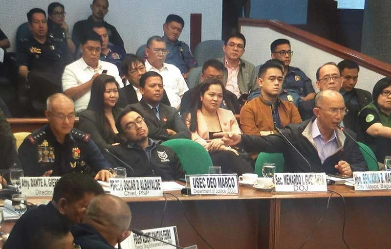 MANILA. Baguio City Mayor Benjamin Magalong points at PNP Chief Oscar Albayalde as he calls him out for allegedly lying at the resumption of the Senate investigation on ninja cops on October 9, 2019. (Contributed Photo)