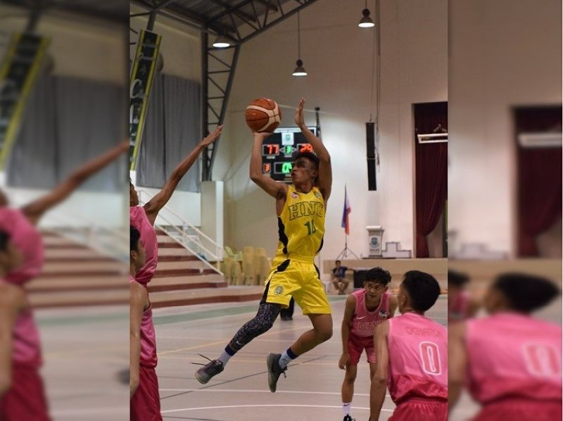 Jhan Rhinner Ampoloquio attempts a contested shot in their game against DCPNHS in the BSAA Season 9. (Contributed photo)