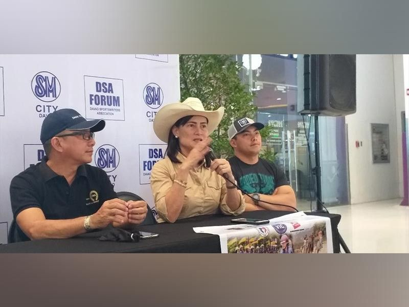 DAVAO. Davao Horse Club president Chelo Tan says the show jumping event will be revived in the upcoming 19th Davao Horse Show Competition as she joins fellow DHC officers during the Davao Sportswriters Association (DSA) Forum at The Annex of SM City Davao Thursday, October 10, 2019. (Marianne L. Saberon-Abalayan)