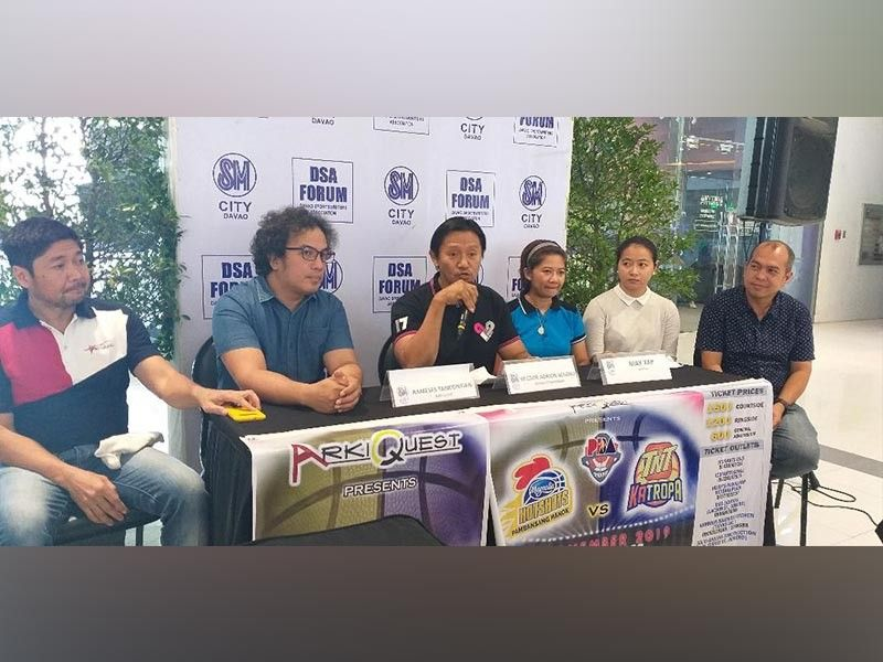 DAVAO. From left, Arkiquest's security head Jun Suarez, logistics in-charge Rameses Tancontian, chairman Hector Magno and ticketing committee's Maryl Piastro, May Yap and Neil Pagcaliwagan bare details of the November 16 game pitting Magnolia Hotshots Pambansang Manok vs TNT Katropa during the Davao Sportswriters Association (DSA) Forum at The Annex of SM City Davao on Thursday, October 10, 2019. (Marianne L. Saberon-Abalayan)