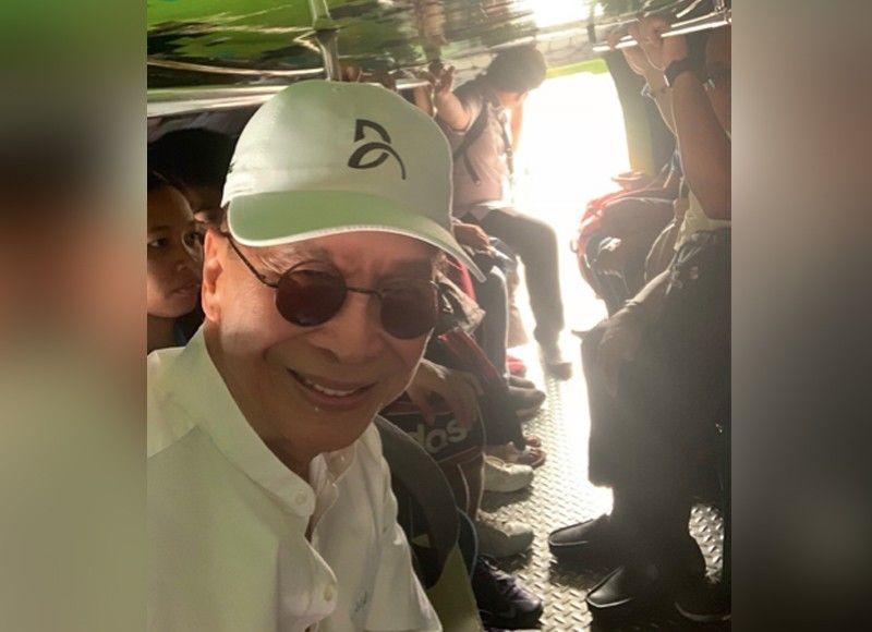 MANILA. Presidential Spokesperson Salvador Panelo takes a selfie as he takes the public utility jeepney on October 11, 2019. (Photo from Salvador Panelo)