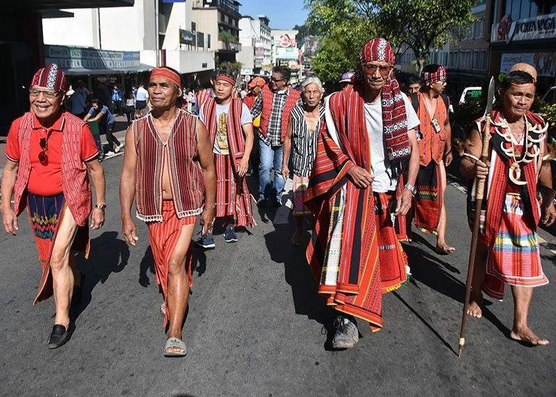BAGUIO. Elders from Mountain Province in their native attire parade along Session Road in Baguio City, promoting their culture and tradition as part of the Indigenous Peoples Rights Act celebration on Friday, October 11, 2019. (Redjie Melvic Cawis)