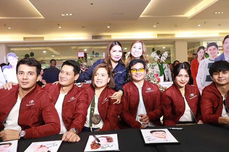 PAMPANGA. BeauteDerm Corporation President and CEO Rhea Tan and BeauteHub by BeauteDerm distributor Jill Nepomuceno join celebrity ambassadors Sylvia Sanchez, Gabby Concepcion, Jane Oineza, Ton-Ton Gutierrez, Ryle Santiago and Ejay Falcon during Thursday's grand opening of BeauteHub outlet store at Vista Mall Pampanga, City of San Fernando. (Chris Navarro)