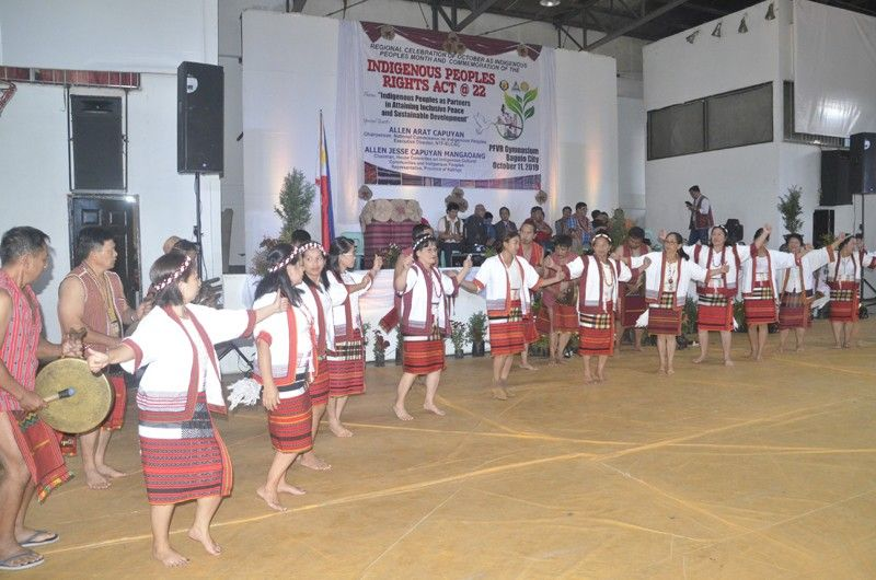 BAGUIO. Contingents from Mountain Province, in their cultural presentation during the RDC-CAR, led the IPRA Day Program at PFVR Gym, Friday, October 11, 2019. Kalinga Congressman and House Committee on IP Community and Indigenous People people chairman Allen Jesse Mangaoang and NCIP Commissioner NTF-Elcac Executive Director Allen Capuyan were the invited guest speakers during the event. (Photo by Lito Dar)