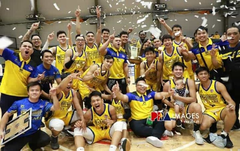 BRT Sumisip Basilan-St. Clare celebrates their title win in the PBA D-League Foundation Cup. <b>(PBA photo)</b>
