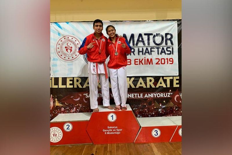 TURKEY. Rexor and Miyuki Tacay of Davao City celebrate their silver medal feats in the recently-concluded 2019 Amatör Spor Haftasi Karate Championship in Sakarya, Turkey. (Contributed photo)