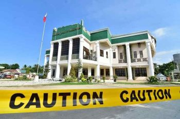 DAVAO. The Municipal Hall of Magsaysay was damaged by the 6.3-magnitude earthquake that hit North Cotabato and affected nearby provinces Wednesday, October 16, 2019. (Photo courtesy of Kagawad Ryan Maboloc)
