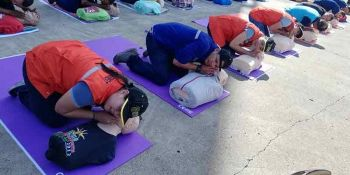VILLANUEVA. First responders from different government agencies perform Cardiopulmonary resuscitation (CPR), a life-saving emergency procedure, during the Rescue March Challenge hosted by STEAG State Power Inc. Thursday, October 17, 2019, at their powerplant in Villanueva, Misamis Oriental. The rescue march is the company's appreciation to the rescuers or first responders during disasters. (Photo by PJ Orias)
