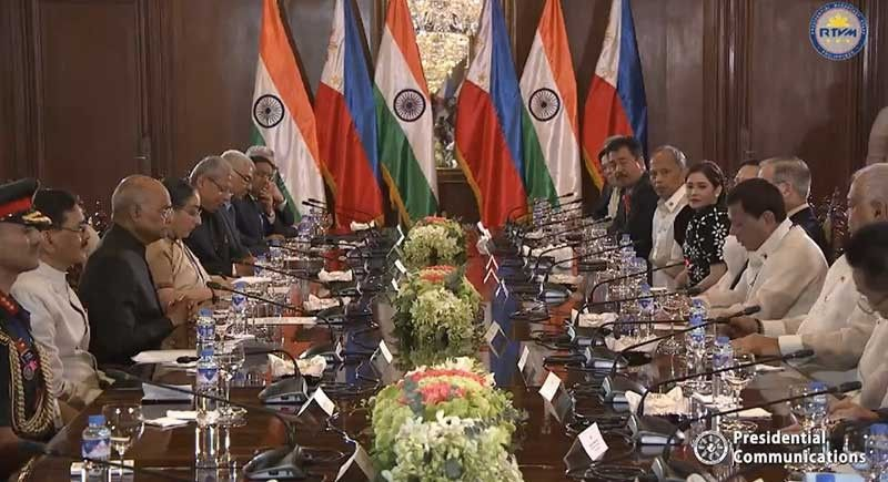 MANILA. Philippines and India officials hold a bilateral meeting at the Malacañang on October 18, 2019. (Photo grabbed from Presidential video)