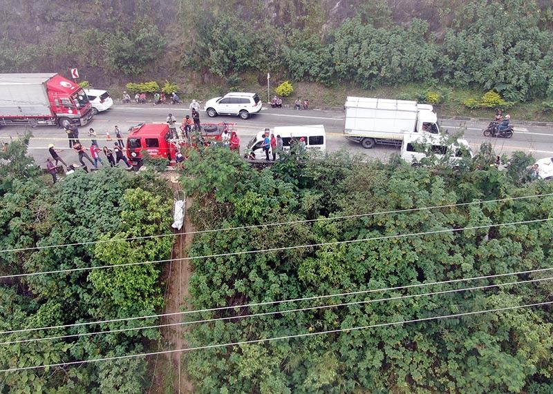 BENGUET. Drone photo, taken by nongovernment organization Team Rubicon Australian, of the site along Marcos Highway in Poyopoy, Barangay Taloy Sur, Tuba, Benguet where eight bodies were found. (Team Rubicon photo)