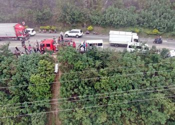 BENGUET. Drone photo, taken by nongovernment organization Team Rubicon Australian, of the site along Marcos Highway in Poyopoy, Barangay Taloy Sur, Tuba, Benguet where eight bodies were found. (Team Rubicon photo) onerror=