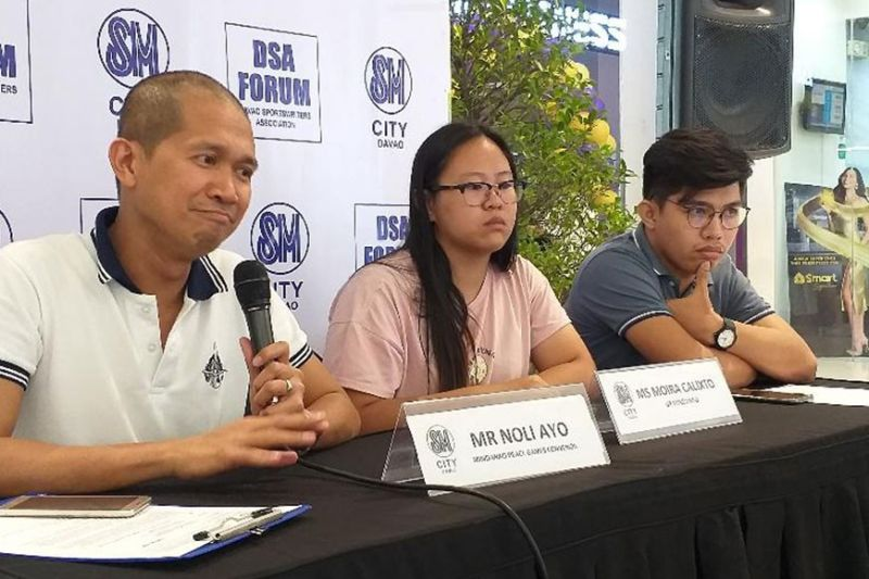 DAVAO. Si Convenor Noli Ayo, wala, nagkanayon atol sa Davao Sportswriters Association (DSA) Forum sa The Annex sa SM City Davao nga ang umaabot nga 5th Mindanao Peace Games sa Zamboanga City mao ang pinakadakong edisyon. (Marianne L. Saberon-Abalayan)