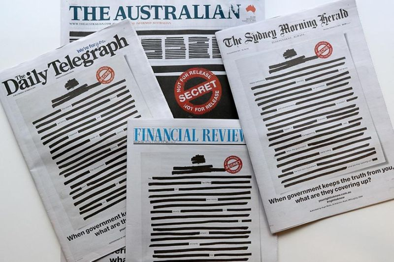 AUSTRALIA. Newspapers display redacted copy on their front pages in Sydney, Monday, Oct. 21, 2019. Australia's major newspapers have published redacted front pages in a coordinated campaign to highlight government secrecy that is often justified on national security grounds. (AP Photo)