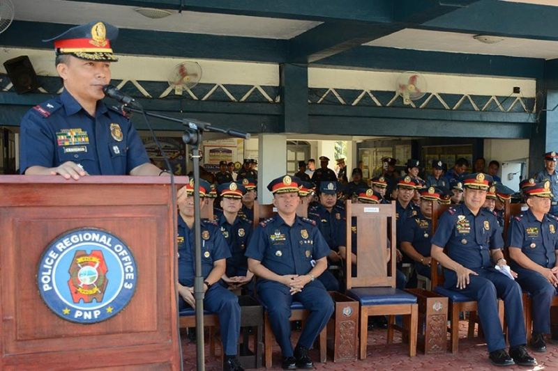 PAMPANGA. New officer-in-charge Police Brigadier General Leonardo Cesneros speaks before the men and women of the Police Regional Office III during his assumption of office on Monday at Camp Olivas. (PRO-Central Luzon photo)