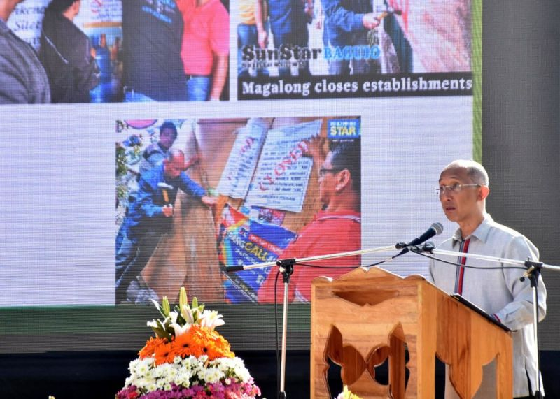 BAGUIO. Baguio City Mayor Benjamin Magalong reports the accomplishments of his first 100 days in office during the flag raising ceremony on Monday, October 21, 2019. (Redjie Melvic Cawis)