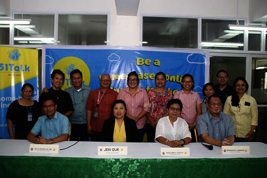 NEGROS. (Seated from left) Carlos Hilado Memorial Stage College Dean of College of Arts and Sciences Jay Estrellas, 51Talk country head Jennifer Que, school's chief administrative officer Rosalinda Tuvilla and director for external affairs Rhoderick Samonte during the launching of the English as a Foreign Language (EFL) campaign at the college in Talisay City Tuesday, October 22, 2019. (Contributed Photo)