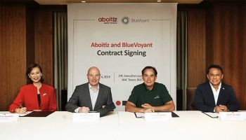 MANILA. Aboitiz Equity Ventures, Inc. (AEV) has appointed Bluevoyant as its managed security services provider. Signing the partnership contract were (from left): Arleen V. Asuncion, Bluevoyant Philippines general manager; Gad Goldstein, Bluevoyant International president; Sabin M. Aboitiz, AEV chief operating officer; and Jojo S. Guingao, AEV chief digital officer. (Contributed Photo)