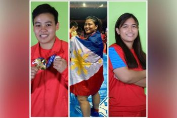 DAVAO. Decorated athletes from left, Nesthy Alcayde Petecio, Sydney Sy Tancontian and Maiquel Jawn Selga will lead the ceremonial torch relay for the country's hosting of the 30th Southeast Asian (SEA) Games 2019, which will kick off in Davao City on October 30. (Mark Perandos)