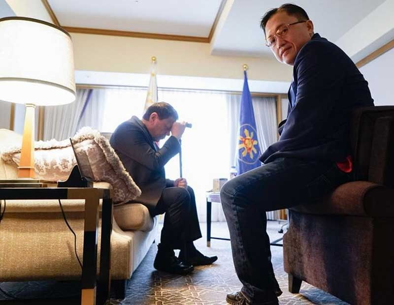 JAPAN. President Rodrigo Duterte is shown here with a cane during his trip to Japan. With him is Senator Christopher Go, his former aide. (Photo from Bong Go Facebook)
