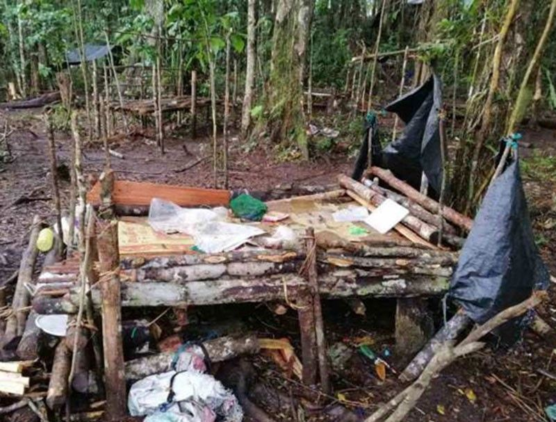 ZAMBOANGA. The military's Western Mindanao Command releases Saturday a photo showing one of the makeshift bunkers in an encampment hastily abandoned by the New People's Army amid military airstrike in Palimbang, Sultan Kudarat. (Contributed photo)