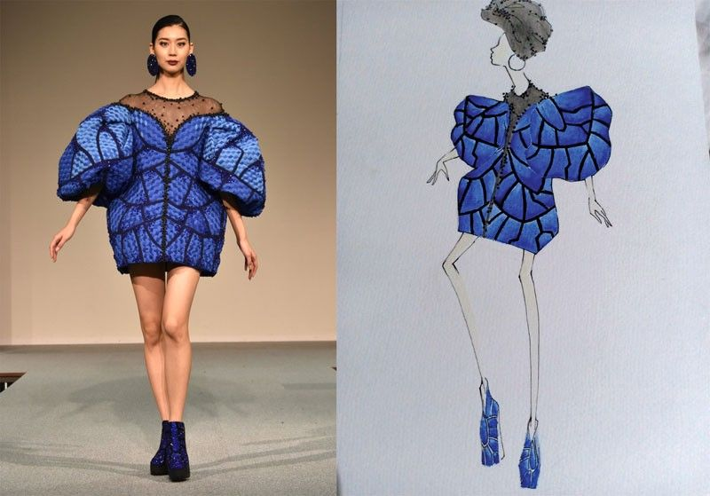 "JAPAN. Andi Amora won the Japan Formal Association Award and the Fujiyoshida Chamber of Commerce President Award in the fashion design contest held at the Sugino Hall in Shinagawa-ku, Tokyo, Japan for her ""Blue Morpho Butterfly"". (Photo courtesy of Andi Amora)"