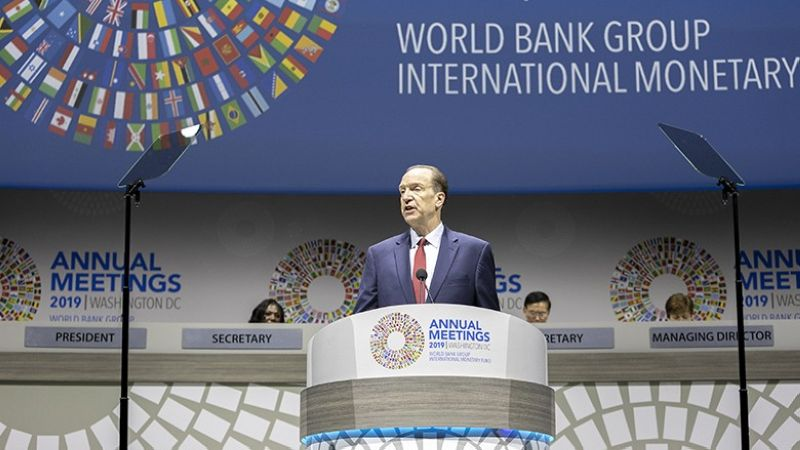 MEETING. World Bank Group President David Malpass speaks at the plenary session of the Annual Meetings of the Board of Governors in Washington DC, USA. (World Bank)
