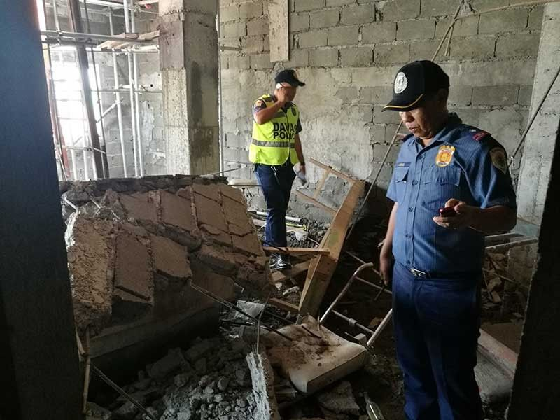 DAVAO. Police inspect damage at a construction site in Davao City after a magnitude 6.6 earthquake on October 29, 2019. (Photo by Mark Perandos/SunStar Davao)