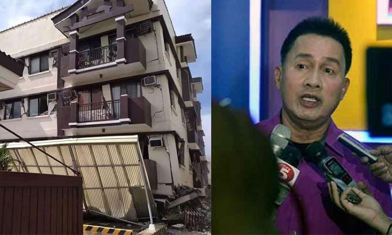 DAVAO. Pastor Apollo Quiboloy (right) and a photo of Ecoland 4000's residential building that was damaged by the magnitude 6.5 earthquake that shook some parts of Mindanao Thursday, October 31, 2019. (SunStar File/Penar Vincent via SunStar Davao)