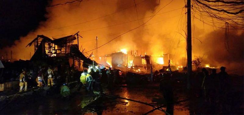 CEBU. Firefighters respond to a fire incident in Barangay Basak San Nicolas, Cebu City Friday night, November 1, 2019. (Benjie Talisic)