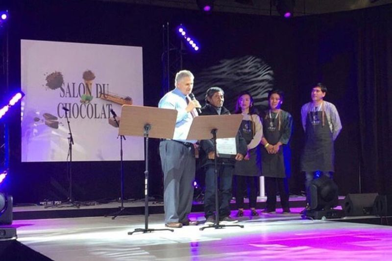 Paquibato cacao farmer Jose Sanguban receives his recognition at the awarding ceremony of the International Cocoa Awards in Salon du Chocolate, Paris, France on October 30. (Photo from Auro Chocolate Facebook Page)