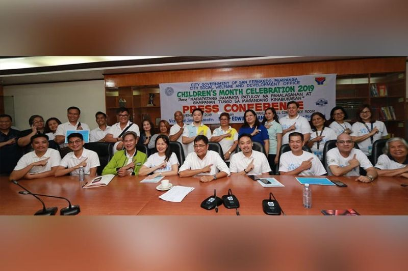 PAMPANGA. City of San Fernando Mayor Edwin Santiago and Councilors Ariel Carreon and Benjamin Jasper Lagman lead the launching of the Children's Month Celebration on Monday, November 4. (Chris Navarro)