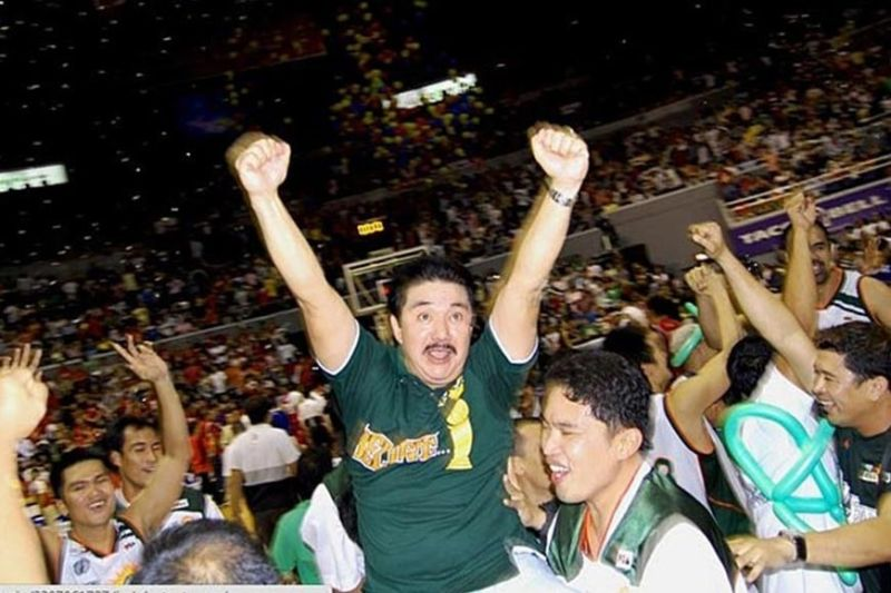 CAGAYAN DE ORO. Jubilant Buddy Encarnado during his colored days as team manager of Sta. Lucia Realty in the PBA. (Contributed photo)