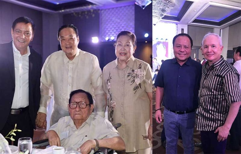 94TH BIRTHDAY. Former Deputy Speaker of Congress and former Cebu Gov. Pablo Garcia during his birthday dinner at the Grand Convention Center, shown here with Cebu Vice Mayor Mike Rama, retired Belgian Honorary Consul Enrique and Helen Benedicto. Right photo shows Deputy Speaker of Congress Pablo John Garcia and Dr. Jose Paras Barba of New Jersey.