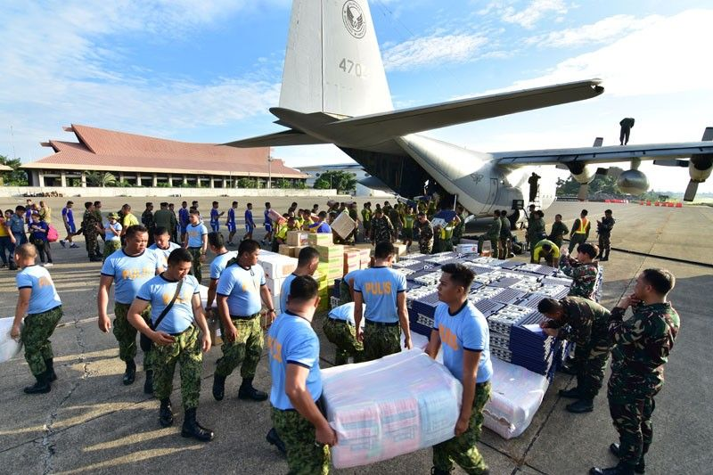 DAVAO. The third batch of donated items coming from Luzon arrived on Monday, November 5, at the Old Airport in Davao City onboard the Philippine Air Force's (PAF's) C130 cargo plane. (Macky Lim)