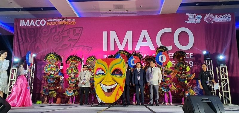 Bacolod City Mayor Evelio R. Leonardia and Bacolod Rep. Greg Gasataya joined the international dignitaries attending the Mask Exhibition opening rites of the 7th IMACO International Conference held at SMX Convention Center in Bacolod City on November 6, 2019. (Photo by Carla N. Cañet)