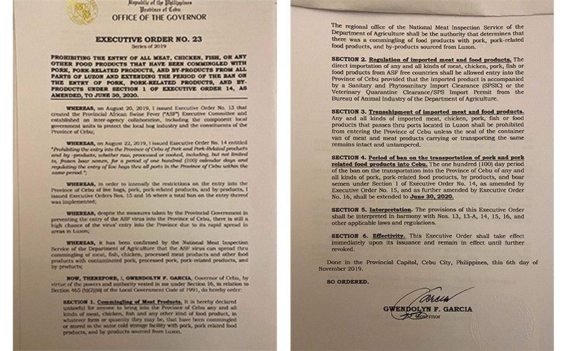 Governor Gwendolyn Garcia issued on Wednesday, November 6, 2019, Executive Order (EO) 23, which declares unlawful the bringing into Cebu Province of any and all kinds of meat (chicken, beef or fish) and any kind of food product that have been stored in the same cold storage facility with pork, pork-related products and byproducts sourced from Luzon. (Contributed photo)