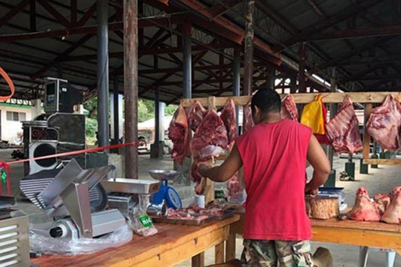 BACOLOD. A recipient of marketing support facilities from the Provincial Veterinary Office continues to sell pork at a lower price yet in good quality. (Contributed Photo)